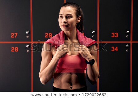 girl workout towel fitness tracker stock photo © lenm