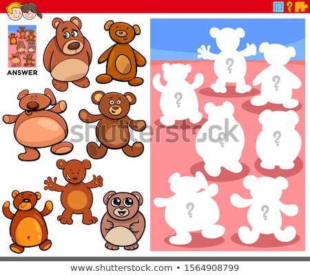 match the shadow kids puzzle game with teddy bear stock photo © adrian_n
