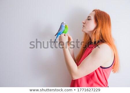 Kaukasisch meisje papegaai hand glimlachend Stockfoto © RAStudio