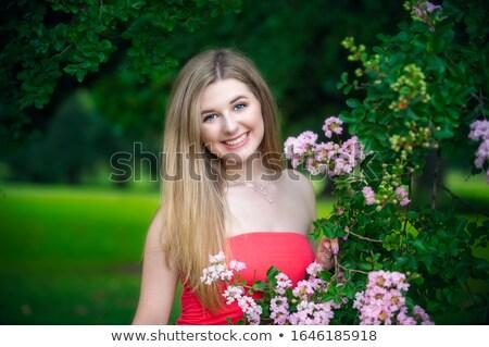 Dziewczyna za drzewo limb piękna portret Zdjęcia stock © IS2