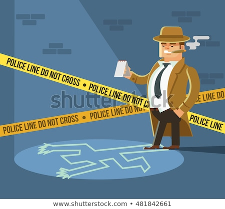 Crime Scene Vector. Detective At Crime Scene. Flat Cartoon Illustration Stock photo © pikepicture