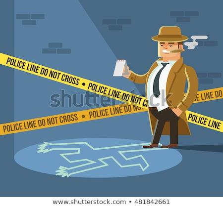 犯罪現場 · 男 · シルエット · 図面 · 地上 · 白 - ストックフォト © pikepicture
