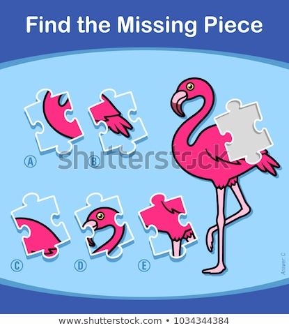 Find The Missing Piece Flamingo puzzle for kids Stock photo © adrian_n