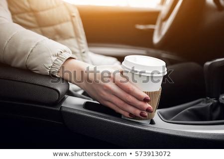 Zdjęcia stock: Szczęśliwy · para · jazdy · samochodu · kawy · broni