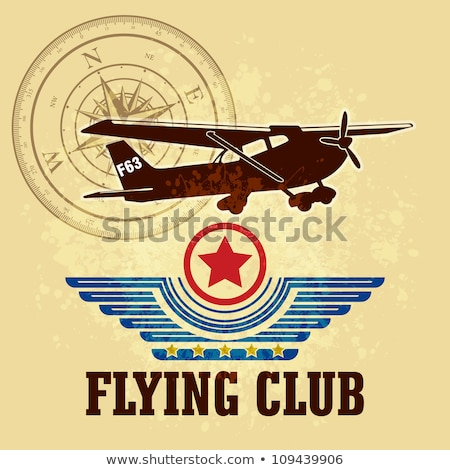 Fly fast poster with propeller airplane Stock photo © studioworkstock