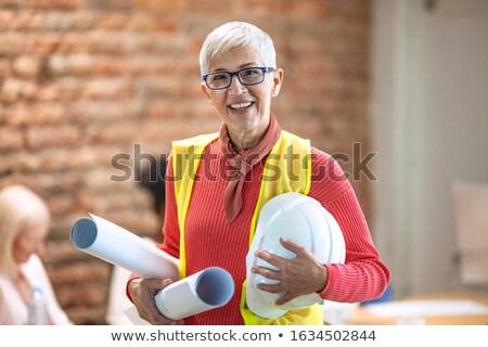 Porträt einzelne Architekt arbeiten Glück stehen Stock foto © IS2