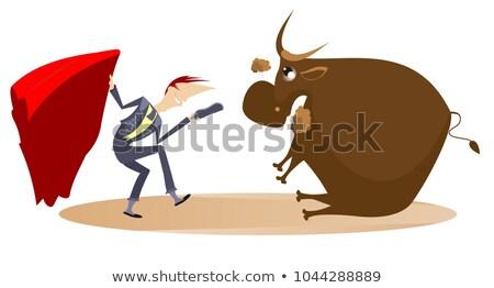 Rajz torreádor fáradt bika illusztráció el Stock fotó © tiKkraf69