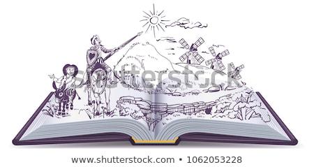 Don Quixote open book vector cartoon illustration Stock photo © orensila