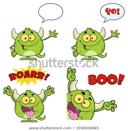 Green Monster Cartoon Emoji Character Roaring Stock photo © hittoon