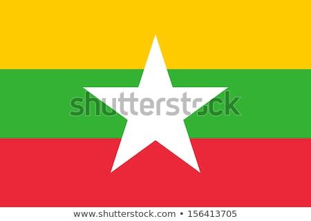 Myanmar vlag witte teken reizen star Stockfoto © butenkow