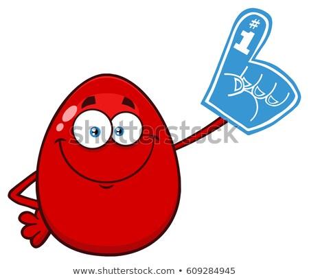 Rosso easter egg mascotte carattere indossare schiuma Foto d'archivio © hittoon