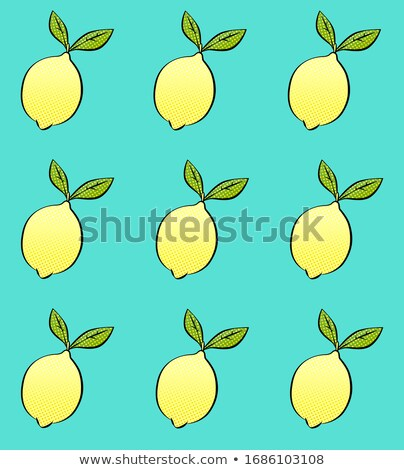 Yellow Lemon Fresh Fruit With Green Leaf Cartoon Drawing Stock photo © hittoon