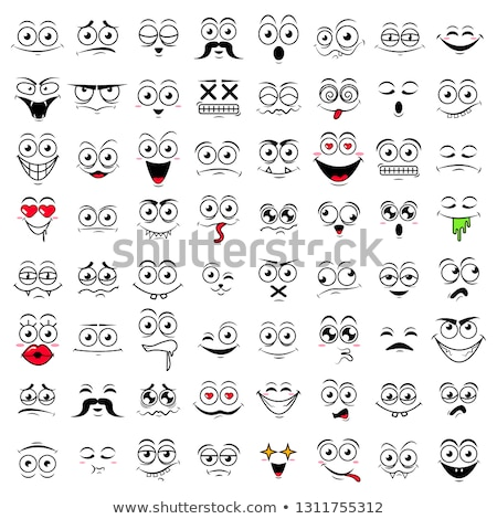 Stock fotó: Crying Cartoon Funny Face With Tears And Expression
