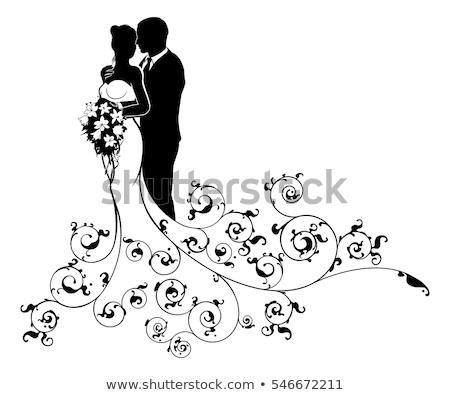 ストックフォト: 花嫁 · 新郎 · 結婚式 · シルエット · カップル · 白