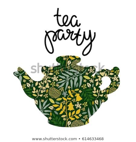 Zöld tea gyógynövény címke tea levelek virág Stock fotó © Terriana