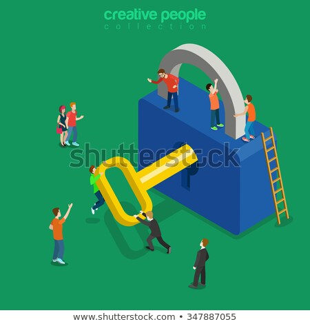 Unlocking process of personal data security decryption, login entrance concept, web vector illustrat Stock photo © kyryloff