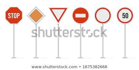 Las senales de tráfico establecer tráfico alerta poste indicador metal Foto stock © Andrei_