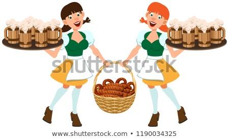 Piwa festiwalu oktoberfest dwa kobiet utrzymać Zdjęcia stock © orensila