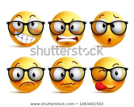 Emoticon with eyeglasses Stock photo © yayayoyo