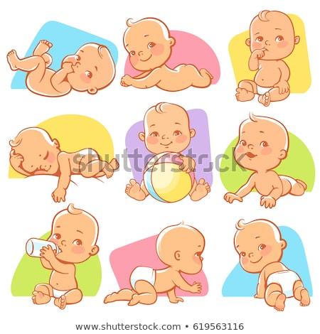 zoete · baby · illustratie · kruipen · lopen · glimlachend - stockfoto © yopixart