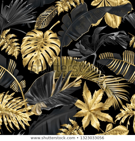 altın · yaprakları · siyah · takı · parlak · sonbahar - stok fotoğraf © blackmoon979