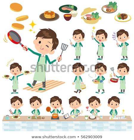 男子生徒 緑 ブレザー 料理 セット ストックフォト © toyotoyo