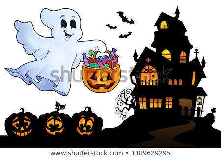 Stockfoto: Halloween Ghost Near Haunted House 4