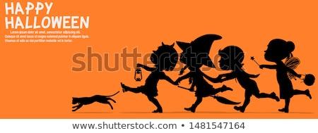 漫画 悪魔 シルエット を実行して 幸せ 黒と白の ストックフォト © cthoman
