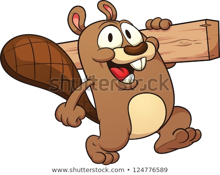 cartoon beaver walking stock photo © cthoman