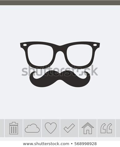 Photo stock: Verres · moustache · icône · léger · ligne · design