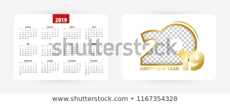 2019 year calendar template grid pocket horizontal orientation Stock photo © orensila