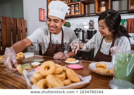 幸せ シェフ カップル 料理 一緒に キッチン ストックフォト © deandrobot