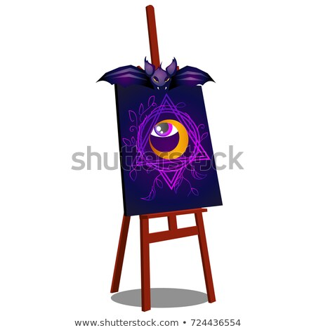 an easel with a terrible drawing of an open eye isolated on white background sketch for a poster or stock photo © lady-luck