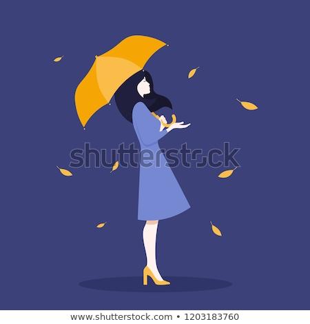 kız · şemsiye · sonbahar · güzel · gün - stok fotoğraf © Linetale