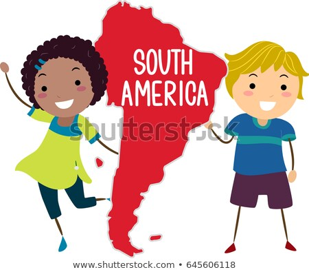 Stickman Kids Continent South America Illustration Stock photo © lenm