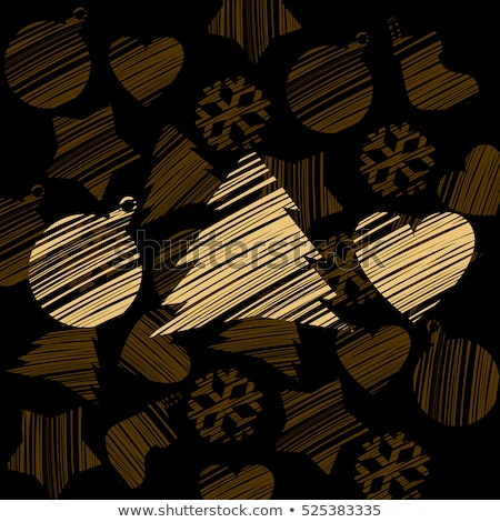 Silhouette of a stroke Christmas tree, heart and ball golden color isolated on brown background with Stock photo © Lady-Luck