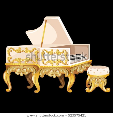 The white Harpsichord in vintage style with a chair isolated on a black background. Vector illustrat Stock photo © Lady-Luck