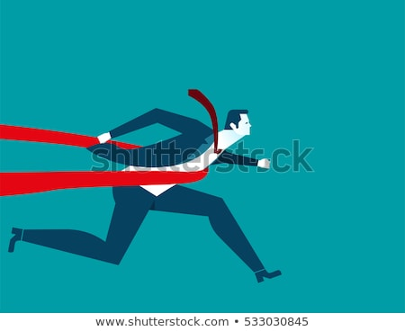 runner guy in competitions crosses the finish line with ribbon vector isolated illustration stock photo © pikepicture