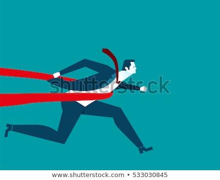 Koşucu adam haçlar şerit vektör Stok fotoğraf © pikepicture