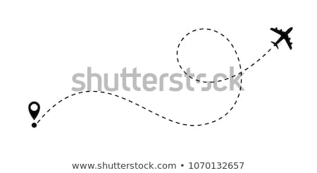 Plane with track, travel concept, vector illustration isolated on white background. Stock photo © kyryloff