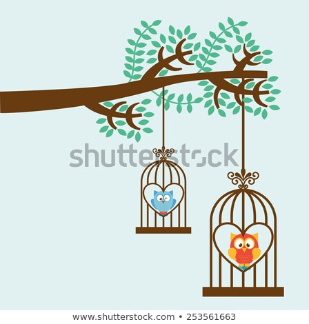 Owls in cages hanging on trees Stock photo © colematt