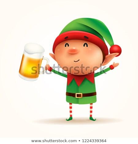 мало · эльф · пива · изолированный · фон · весело - Сток-фото © ori-artiste