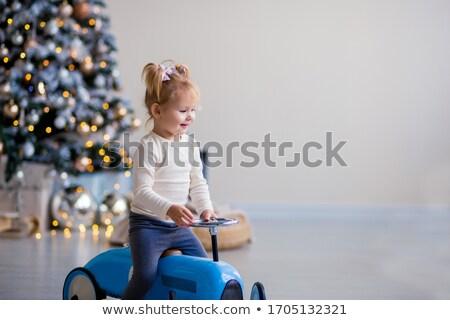 boldog · kislány · ül · baba · autó · ülés - stock fotó © nobilior