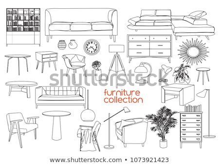Armchair, cupboard with a vase.  Hand drawn vector illustration  Stock photo © Arkadivna