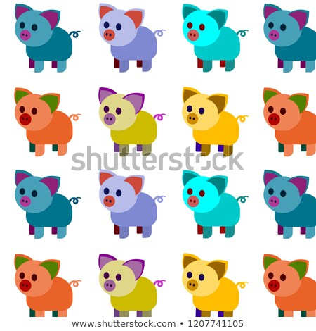 Chinese New Year 2019 multicolor pig card set Stock photo © cienpies