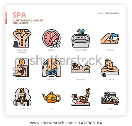 Foot Facial and Hot Stones Massage Icons Vector Stock photo © robuart