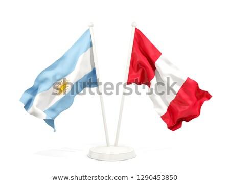 Iki bayraklar Arjantin Peru yalıtılmış Stok fotoğraf © MikhailMishchenko