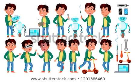 Asian jongen kid ingesteld vector bouwen Stockfoto © pikepicture
