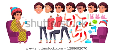 Asian Girl Vector. School Child. Animation Creation Set. Face Emotions, Gestures. Sick, Cough. Runy  Stock photo © pikepicture
