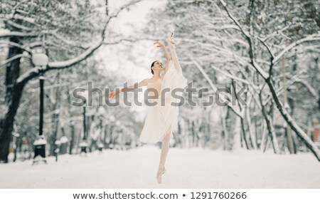 Beautiful ballerina is dancing at walkway of snowy city Stock photo © Stasia04